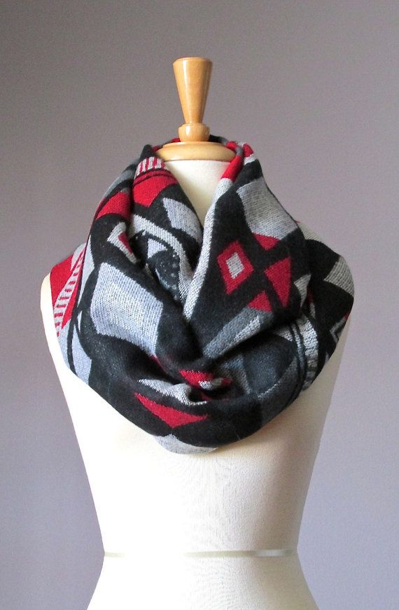 Winter scarf, Black and Red scarf, indian infinity scarf, ethnic scarf, tribal scarf , aztec scarf