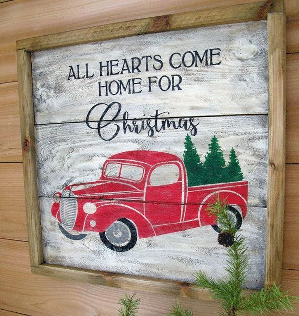 Farmhouse Christmas Decoration Ideas 21 Christmas Red Truck Christmas Signs Christmas Truck
