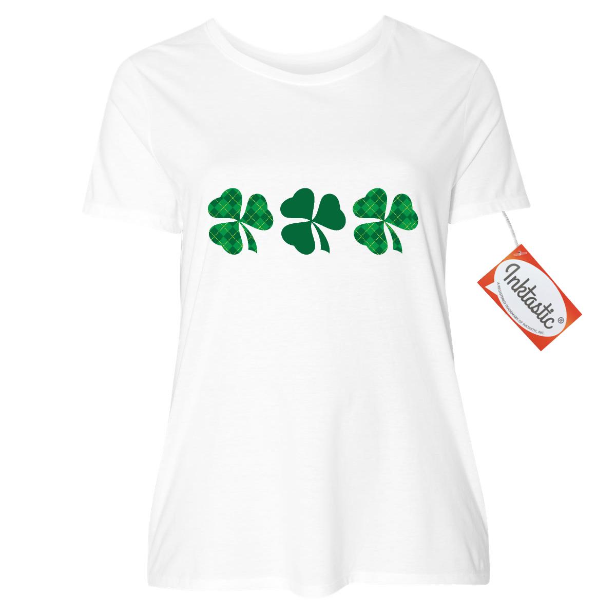 irish shamrock clover border women's plus size t-shirt white