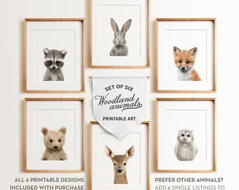 Nursery Animals Prints Printable Art Woodland Decor Baby