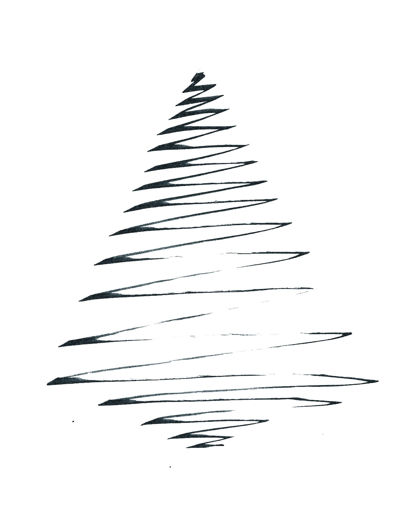 Minimalistic Black And White Christmas Card Christmas Tree Line Drawing Illustration Christmas Tree Drawing Christmas Tree Art Christmas Graphic Design