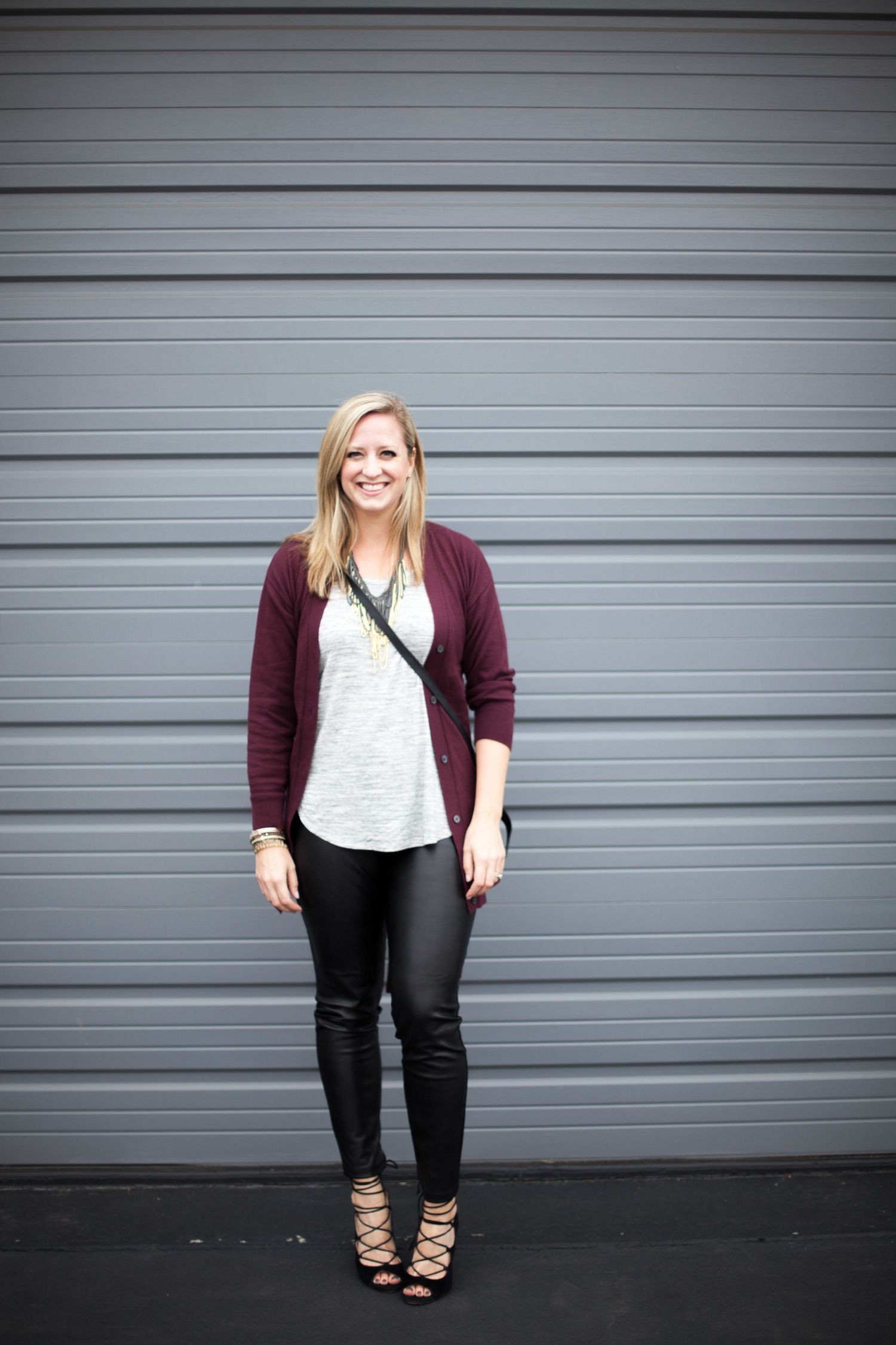 faux leather pants and cardigan