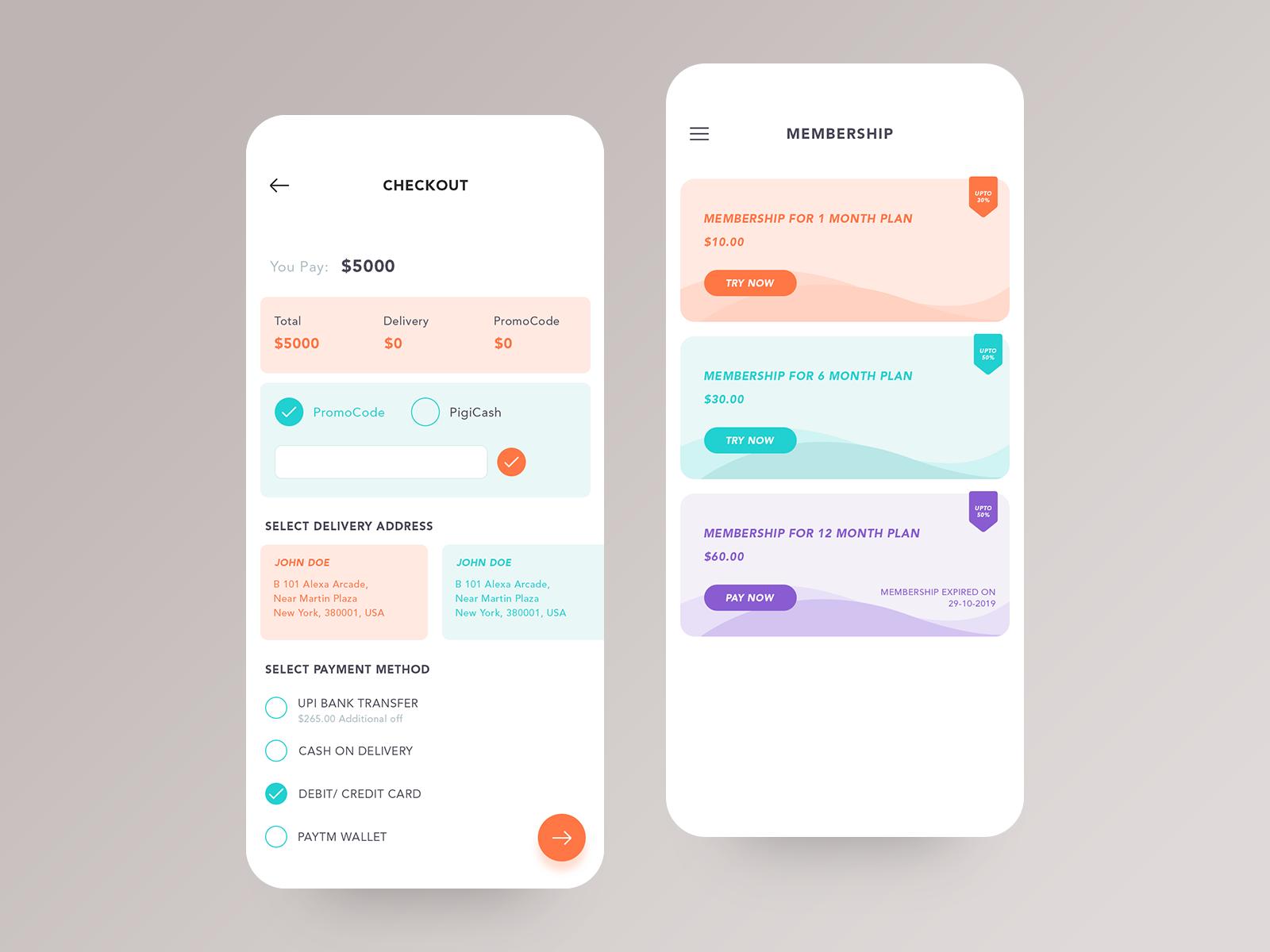 Checkout and Membership Mobile app design, App design