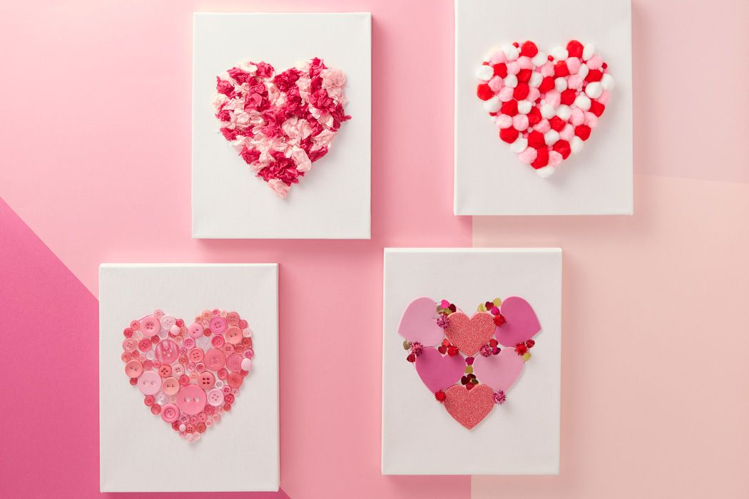 4 Easy Ways to Make a Heart Canvas is part of Kids Crafts Canvas Heart - These easy to create heart canvases are the perfect gift for kids to make  With four designs to choose from there is something for everyone, or why not make all four to create your own gallery wall! 4 Easy Ways to Make a Heart Canvas You Will Need Small stretched