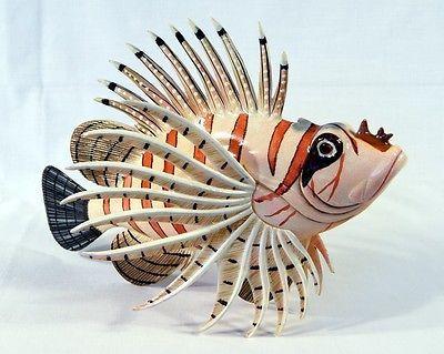 Hand Painted 12 Quot Tropical Lionfish Lion Fish Statue Figurine Sculpture 66l 2 Lion Fish Hand Painted Sculpture
