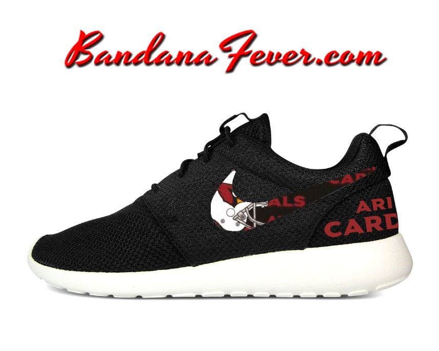 Custom Cardinals Nike Roshe Run Shoes Black, #azcardinals, by Bandana Fever