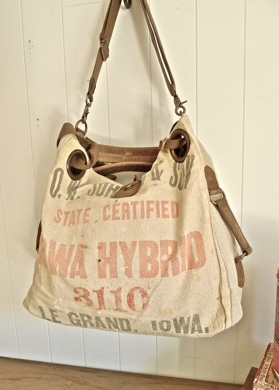 OW Johnson State - Le Grand, Iowa- Distressed Industrial Grunge - Americana  OOAK Canvas   Leather Tote... Selina Vaughan Studios a597e9003f