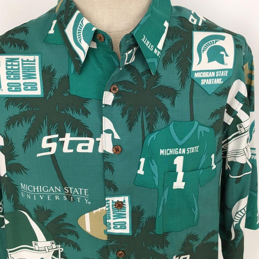 Reyn Spooner Michigan State University Hawaiian Shirt Football Sports Size  XL 8341b3a53