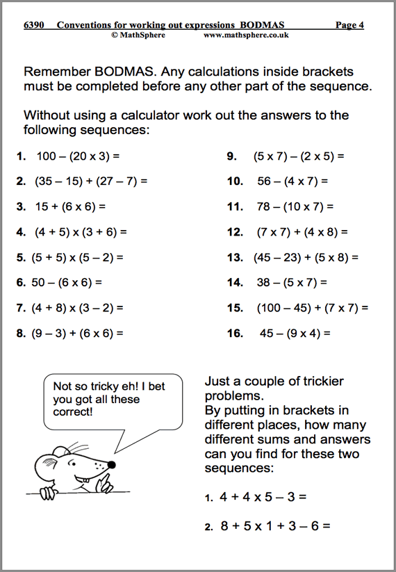 Conventions For Working Out Expressions Maths Worksheet ...