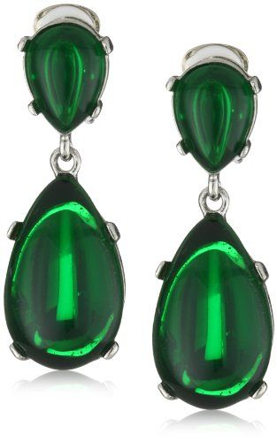 Kenneth Jay Lane Emerald Colored Rhodium Teardrop Clip On Earrings