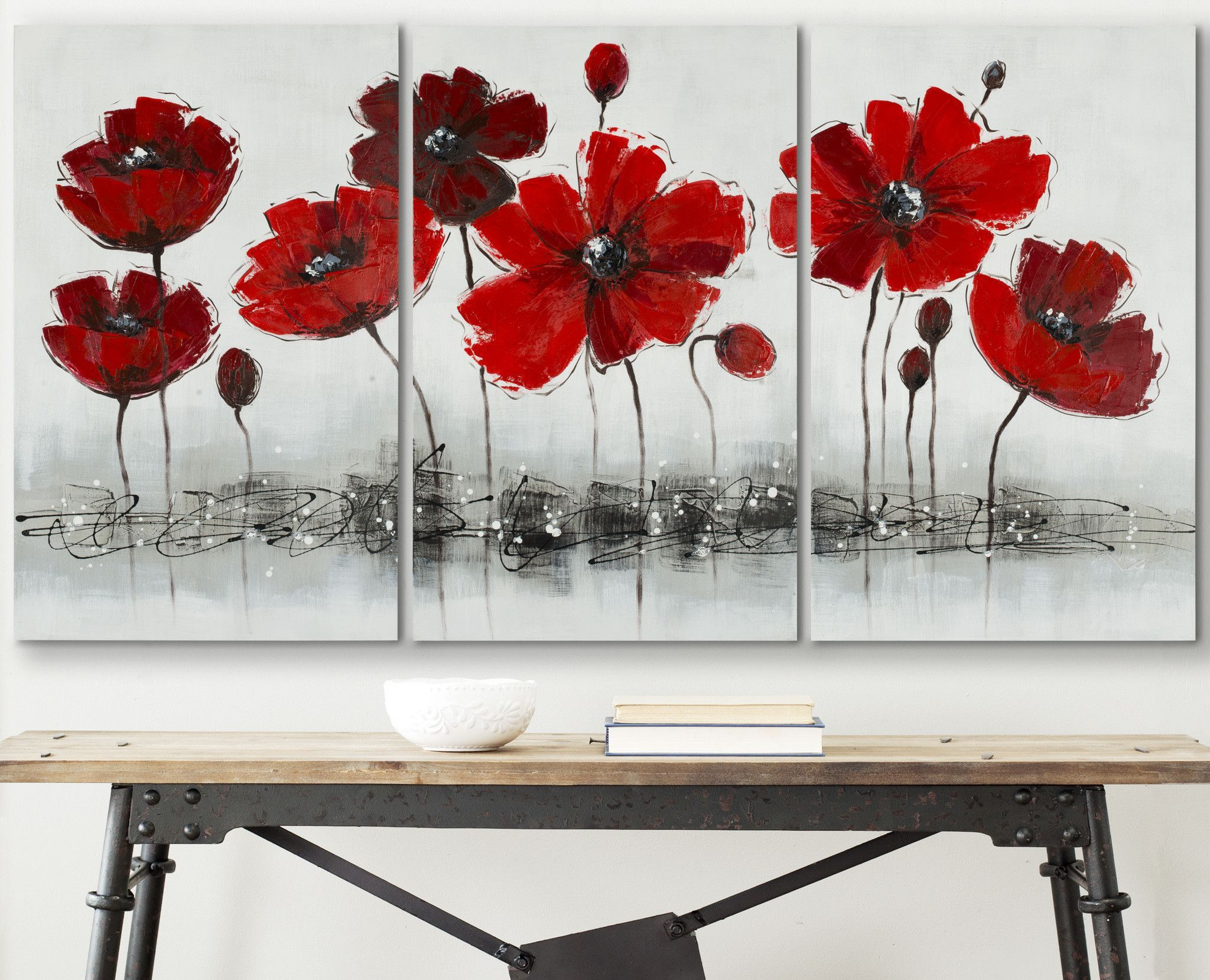 Safavieh Red Flower 3 Painting Floral Wall Art Canvases 3 Piece Canvas Art Red Paintings Canvas