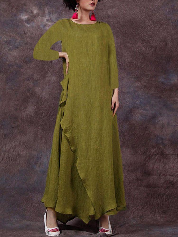 1390c27141840 Only US$24.39 , shop Celmia Casual Loose Women Solid Color Long ...