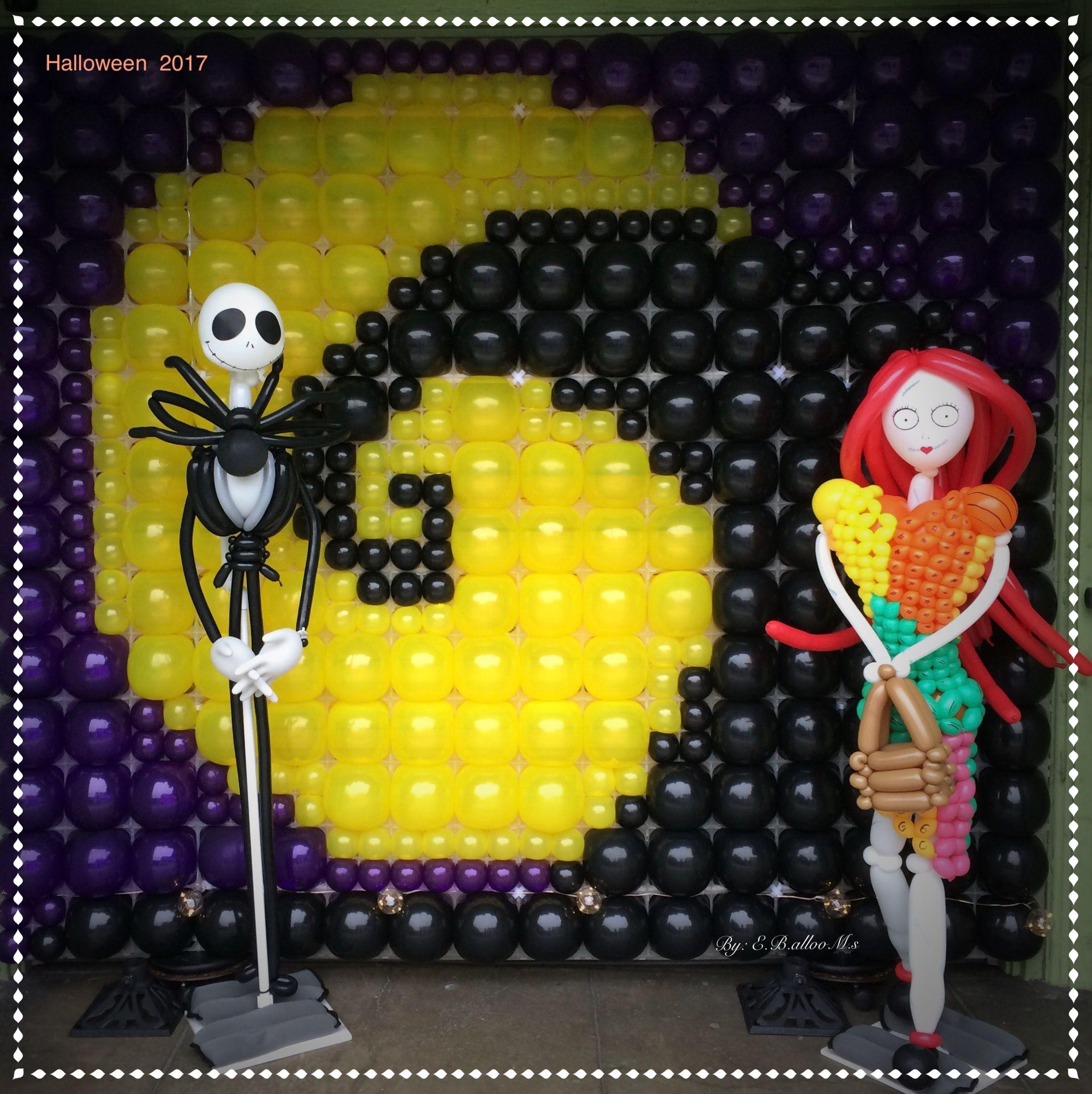 Nightmare Before Christmas Balloon Decor (Jack Skellington And Sally)