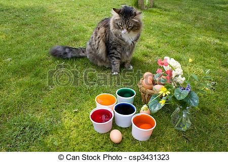 Stock photo available for sale at Can Stock Photo: Coloring Eggs - Cat Watching - stock image, images, royalty free photo, stock photos, stock photograph, stock photographs, picture, pictures, graphic, graphics