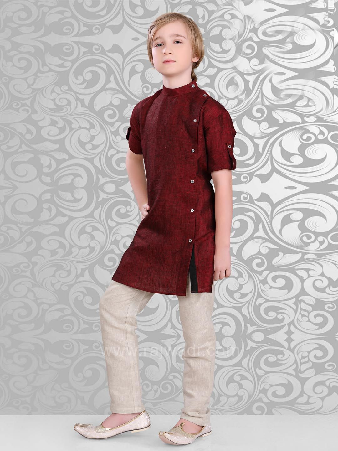 45656d400 Plain Dark Brown Color Kurta With Side Button #rajwadi #kidswear #boys  #ethnic #traditional #modern #trendy #fashionable #kidsfashion