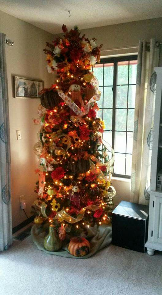 Fall Tree- usually use a 6 foot $30 tree but decided to use our 75 - dollar general christmas decorations