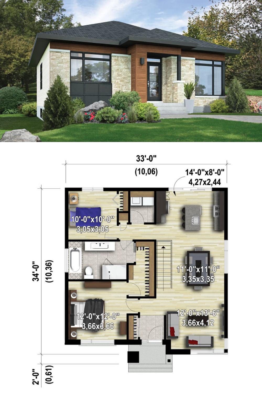 Bungalow House Design With Floor Plan Arsitektur Rumah Rumah Kontemporer Denah Rumah