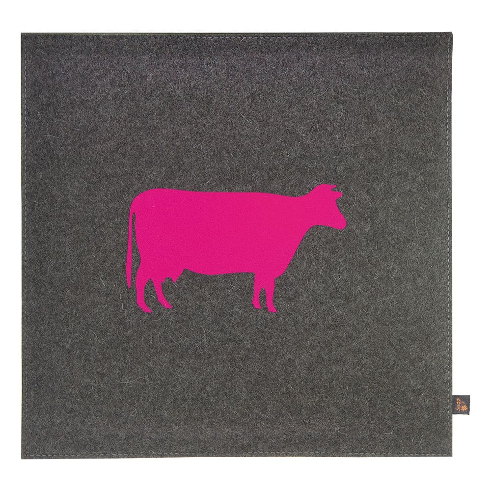 Stuhlkissen Grau kuh filz sitzkissen grau/pink #sitzkissen #stuhlkissen #kuhkissen