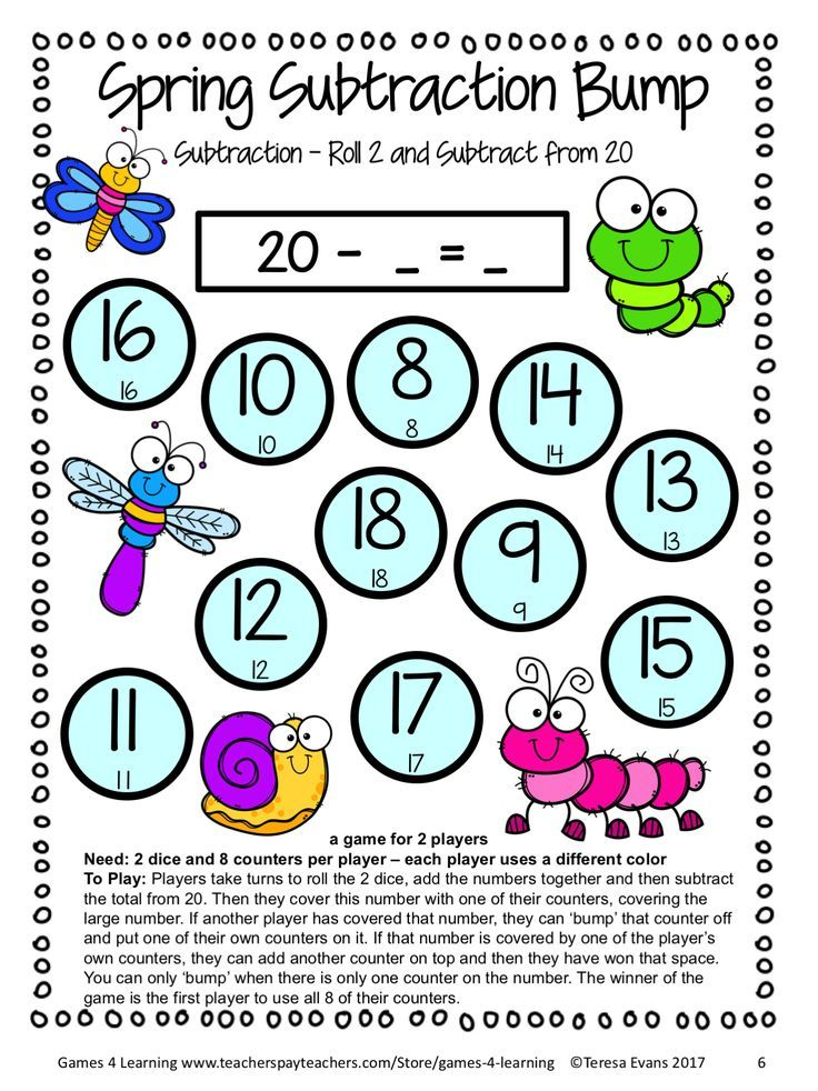 Spring FREEBIE Subtraction Math Board Games, place value sheets ...