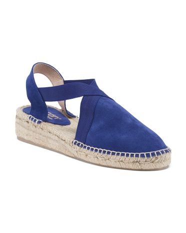 55a9225014 Picon Made In Spain Open Sling Back Suede Flat Espadrilles. Slate blue  40