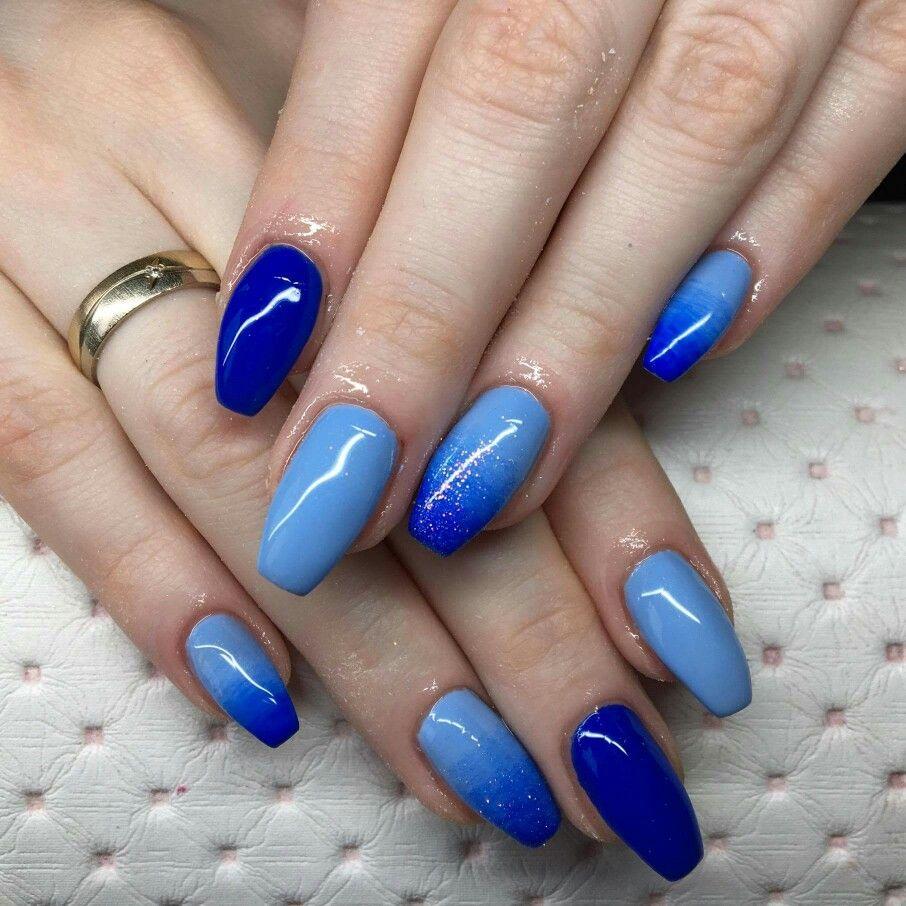Niebieskie Ombre Blue Ombre With Images Niebieskie Paznokcie