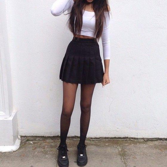 Skirt Sporty Black Girly Shirt T Shirt Earphones Shorts Shoes Tennis Skirt Black Skirt Vintage Hipster Grunge Harajuku Fila Fashion Clothes Tennis Skirt Outfit