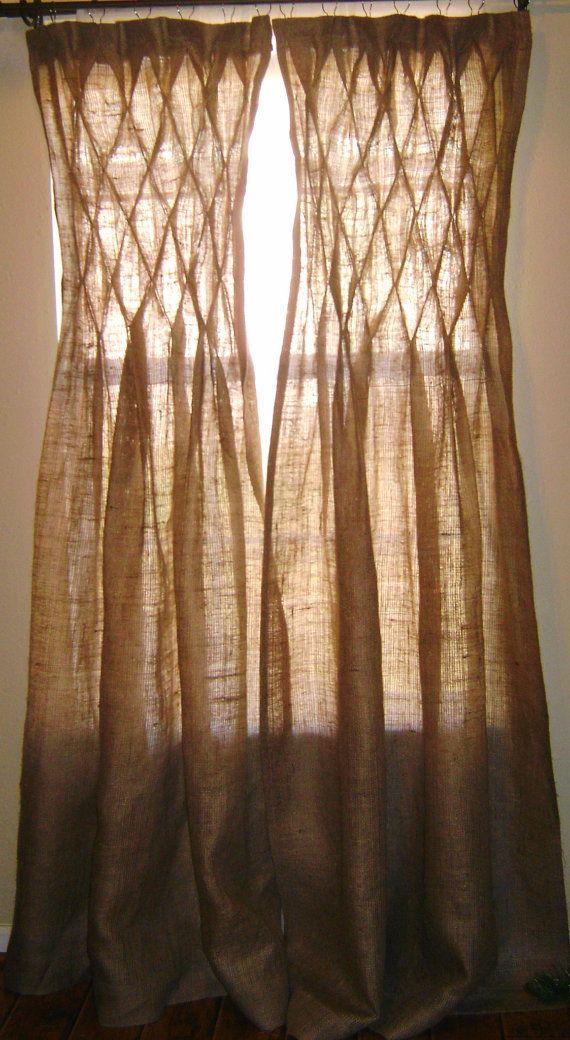 Burlap Smocked Curtains Amp Drape Quot Decorate Your Home It