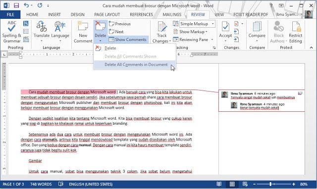 Cara Membuat Dan Menghilangkan Comment Di Microsfot Word Brosur Microsoft
