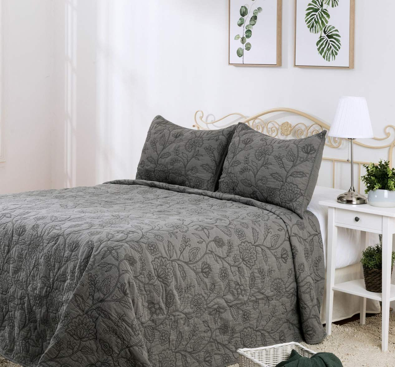Elegant Life Reversible Cotton Vintage Embroidered Bedding Quilt Queen Size 90a A X 95a A Gray You Can Find Mo Embroidered Bedding Quilt Bedding Bed