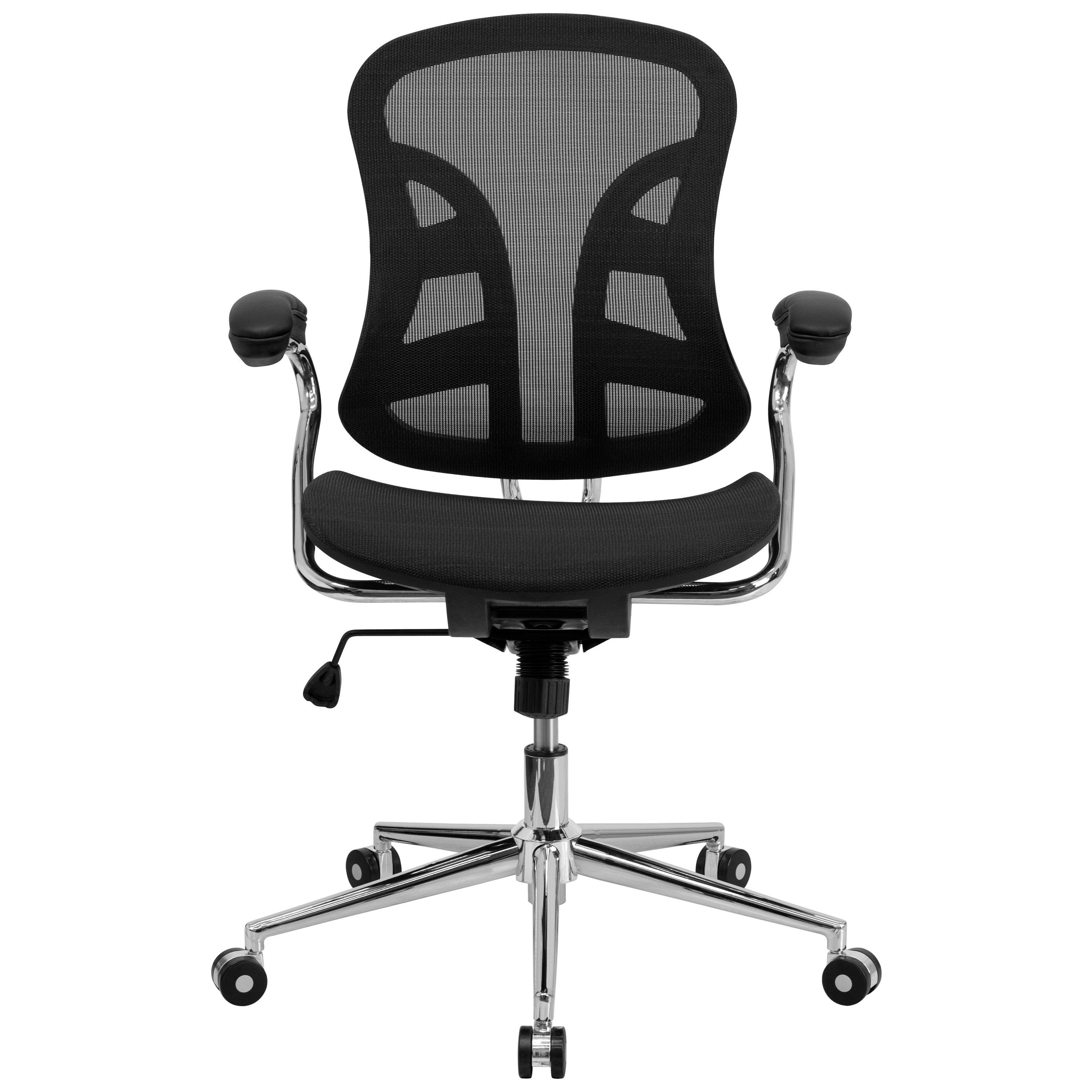 mid back black mesh swivel task chair with chrome base and arms