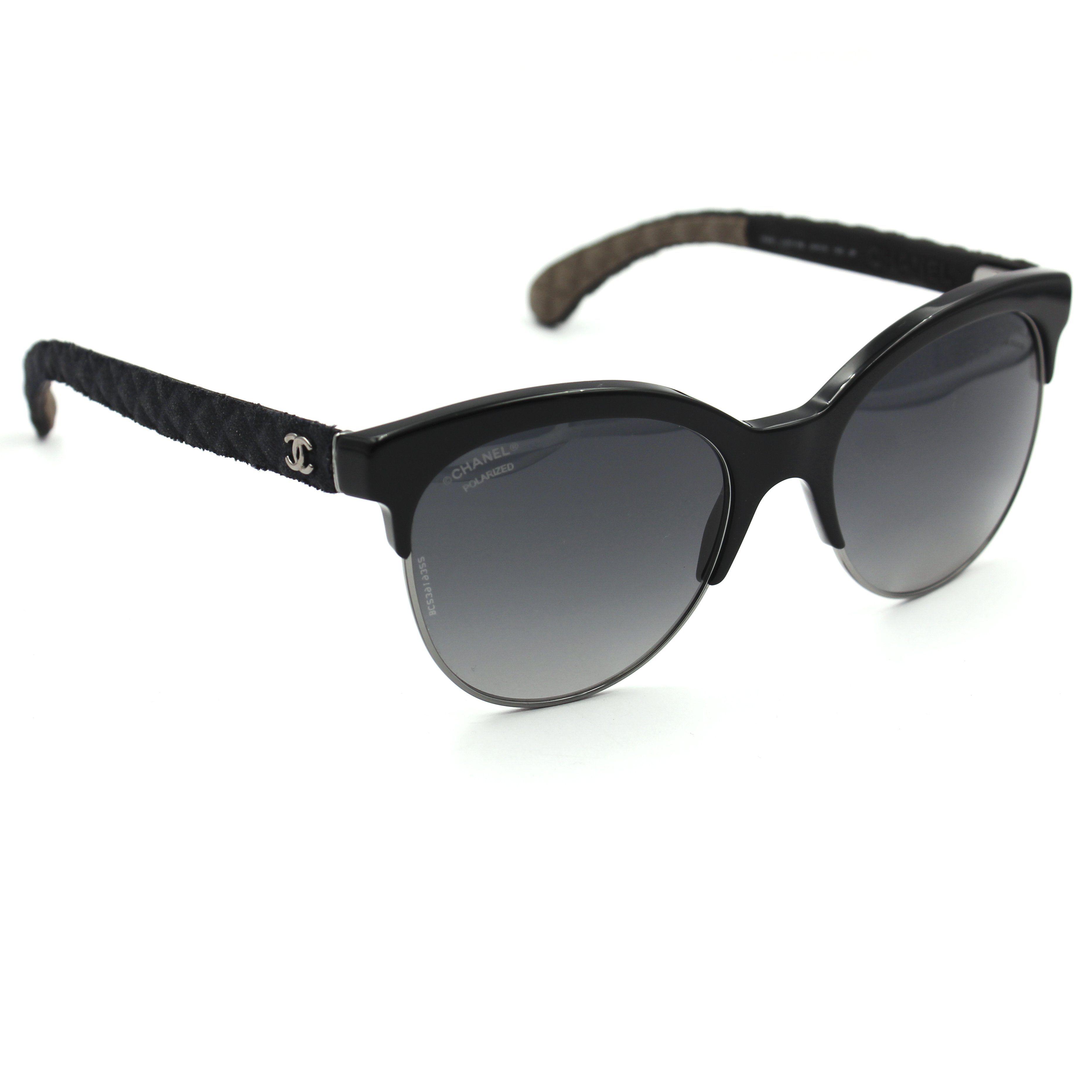 809a58cec25 Chanel 5342 Pantos Sunglasses Black Frame with Gray Polarized Lenses ...