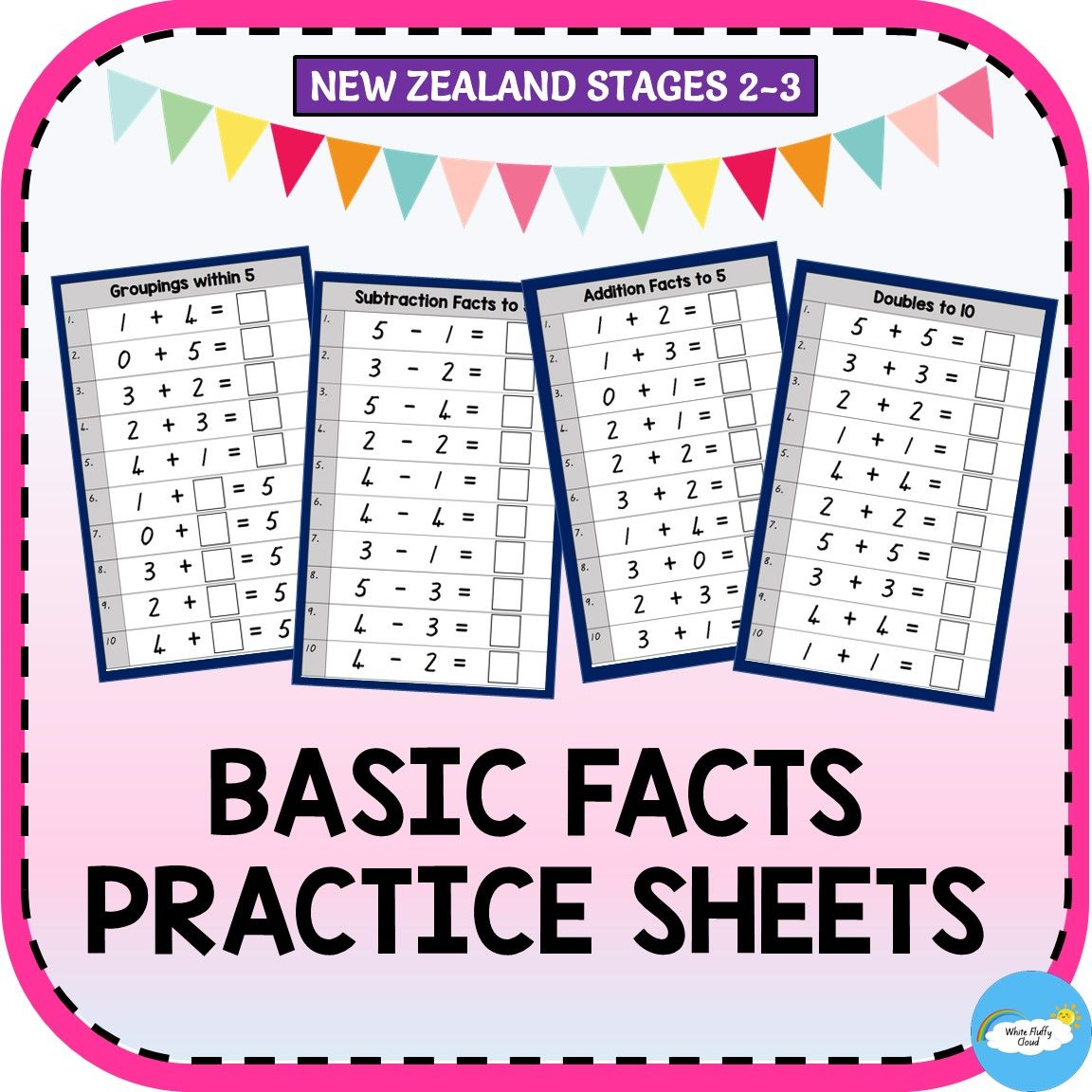 Basic Facts Practice Sheets Nz Stages 2 3 Basic Facts Practice Basic Facts Subtraction Facts