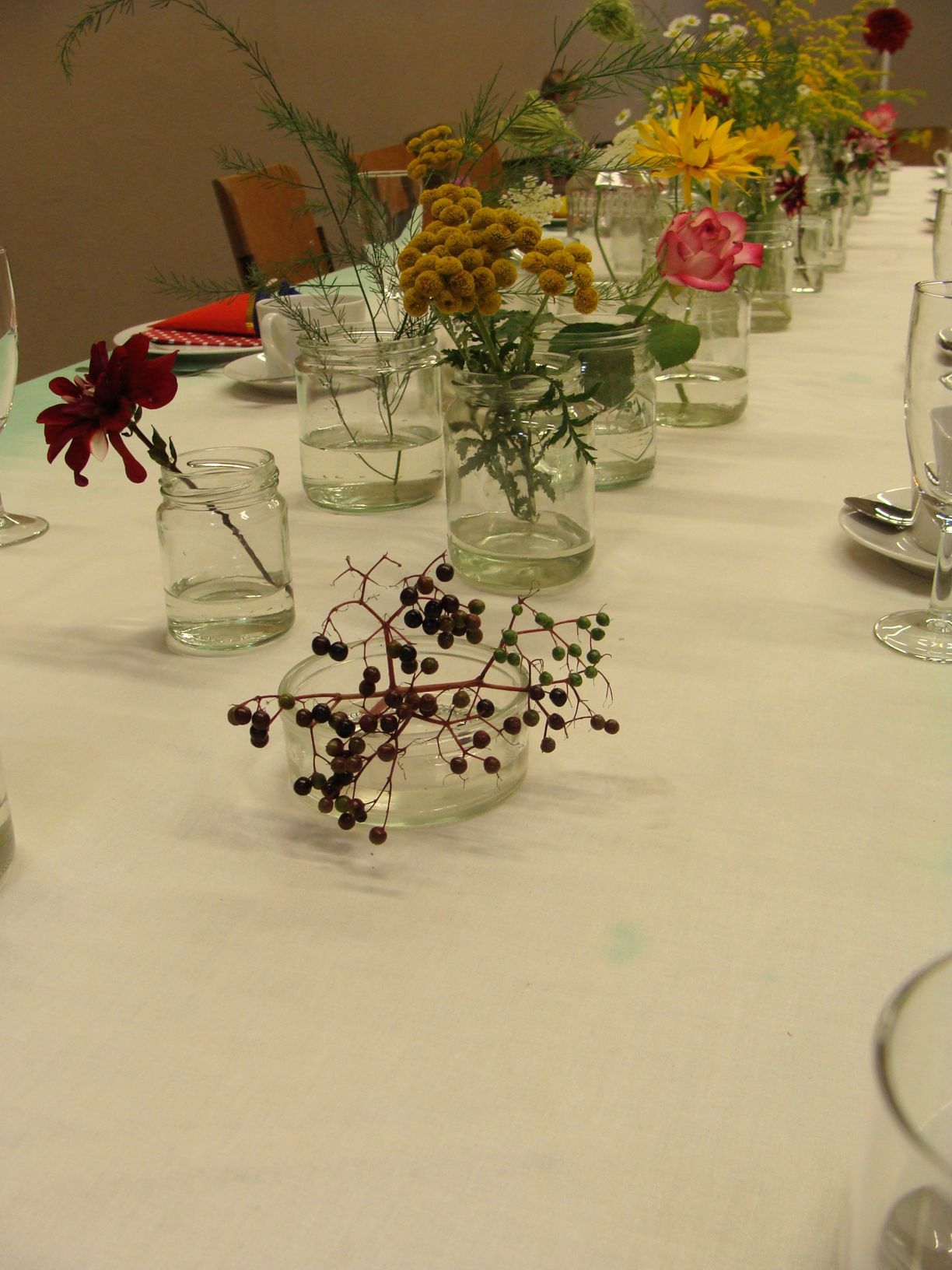 flowers in the middle of the table