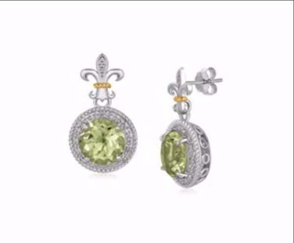 Round Green Amethyst and Diamond Adorned Fluer De Lis Design Earrings in 18K Yellow Gold and Sterling Silver