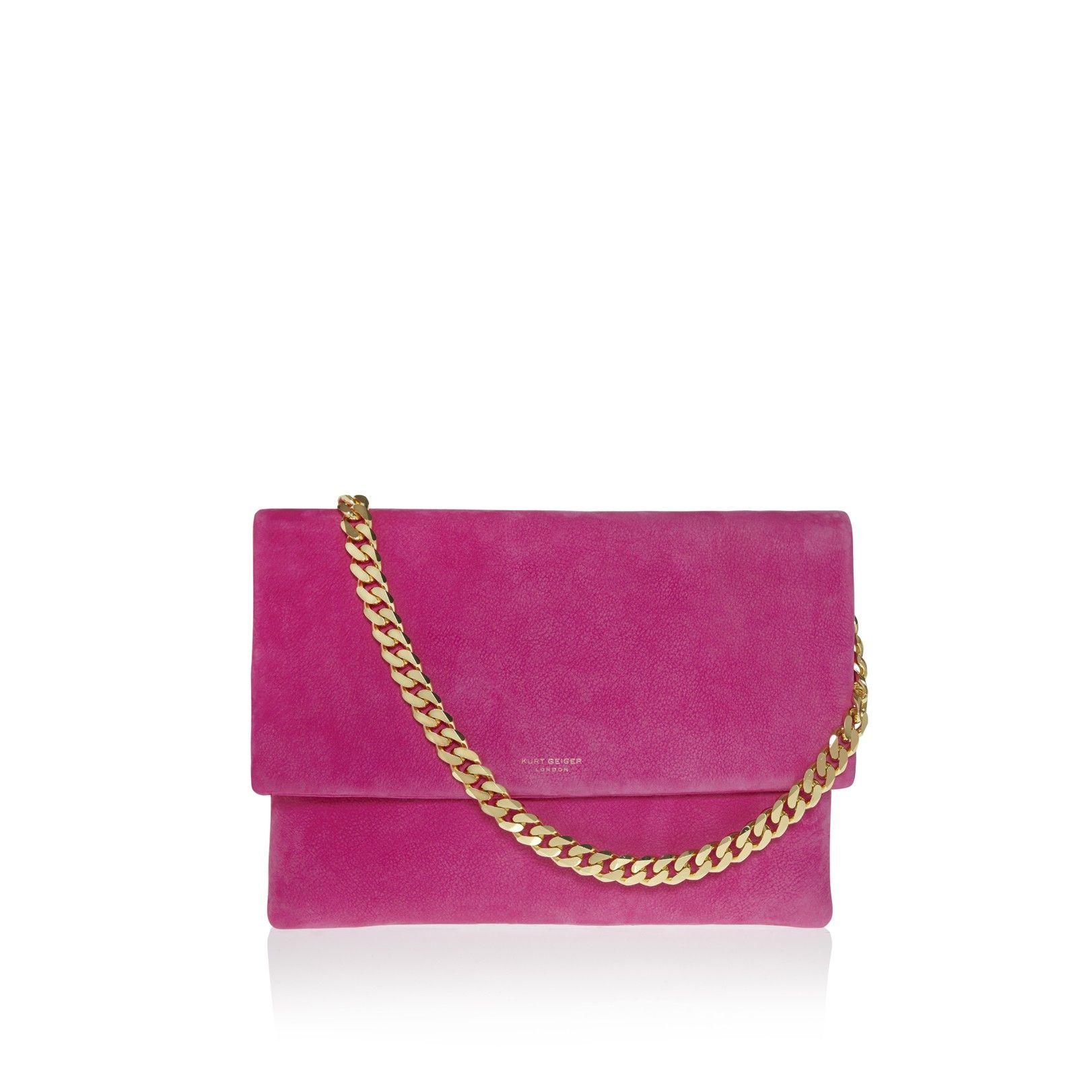 octane fold over bag, pink accessory by kurt geiger london - bags clutch bags