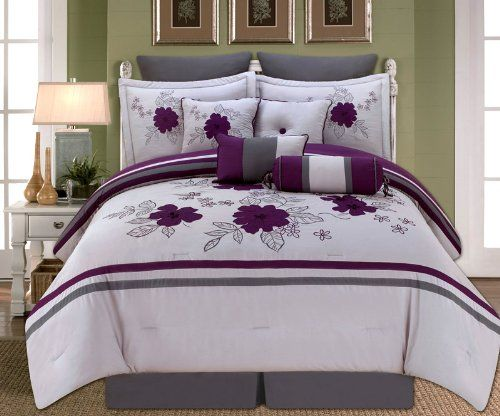 10 Piece King Alyssa Purple And Gray Comforter Set Grey