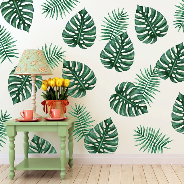 Palm Branches Green Table Wall Decals And Spaces - Wall decals leaves