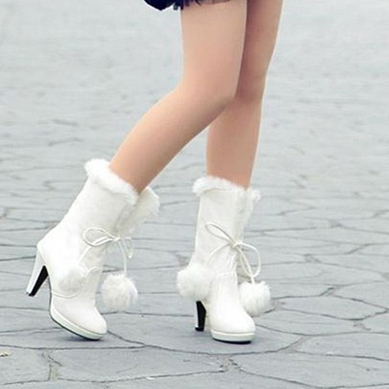 Women Leather Platform Thick High Heel Crystal Winter Wedding Bridal Mid Calf Boots