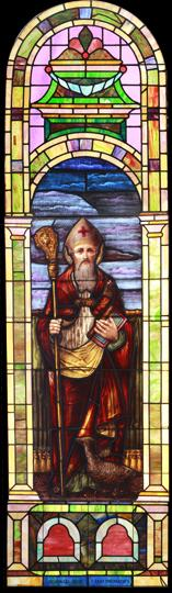Large Vintage Saint Benedict Stained Glass Window DESCRIPTION: Large vintage Romanesque church stained glass window depicting Saint Benedict.
