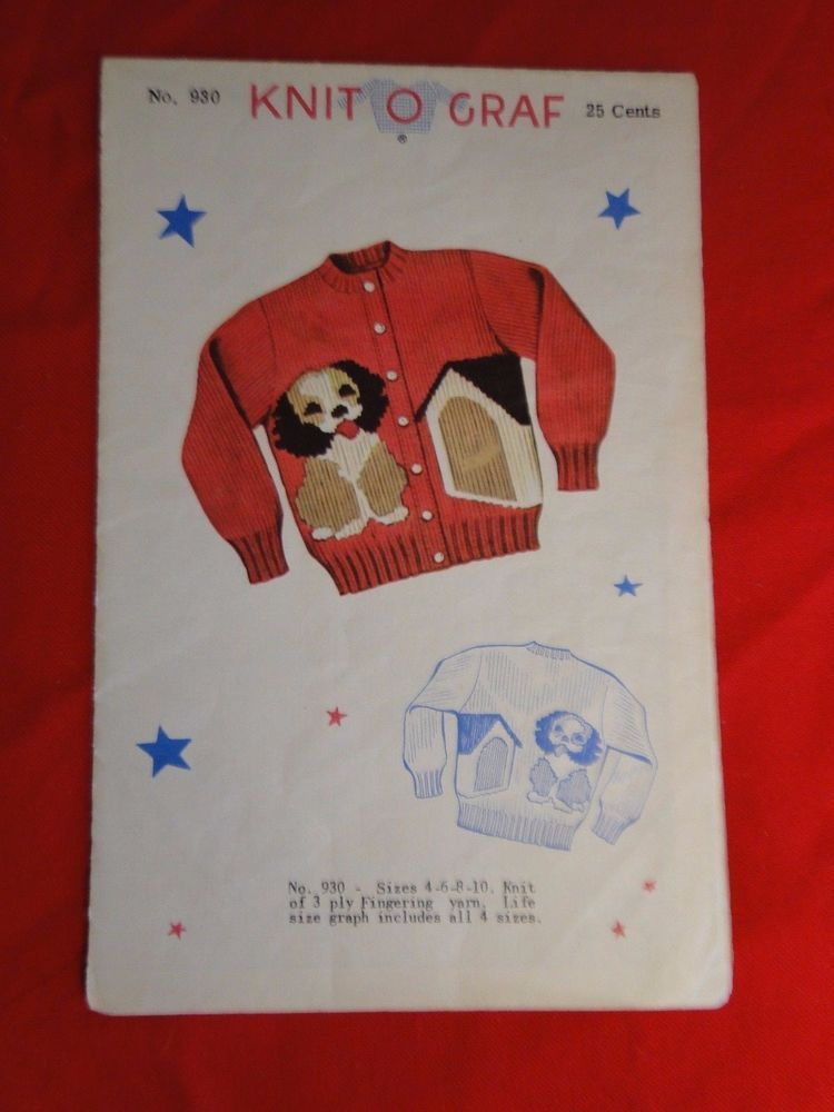 1951 Knit O Graf Knitting Graph Pattern Puppy Dog Childrens Sz 4 6 8