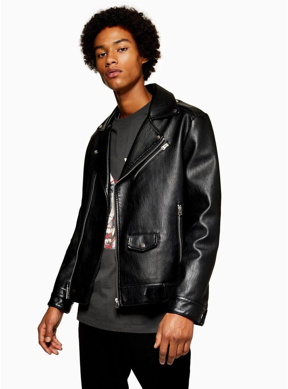Layer IT with this faux leather oversized biker Leather