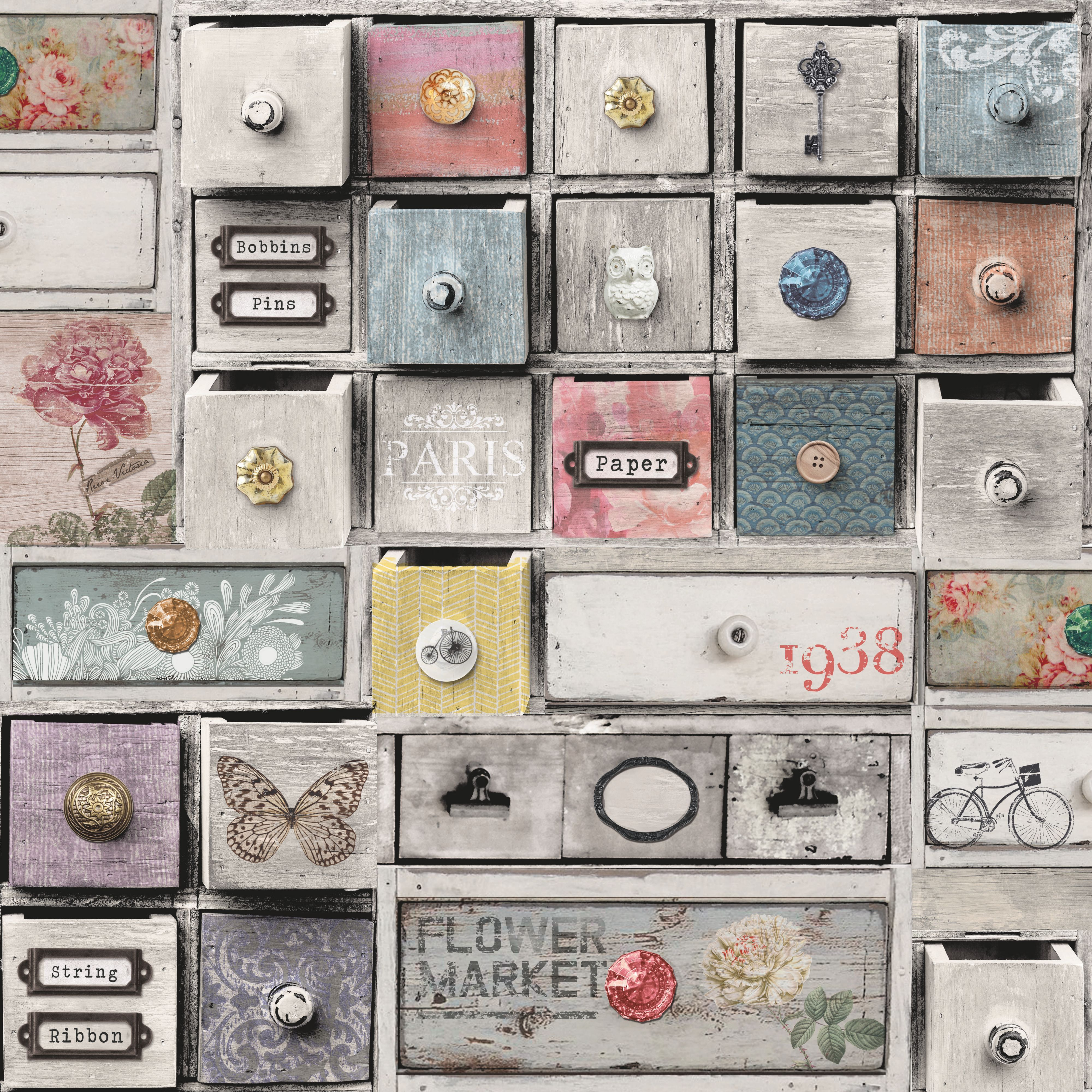 Fantastic Apothecary Drawers Wallpaper Departments Diy At Bq Home Interior And Landscaping Mentranervesignezvosmurscom