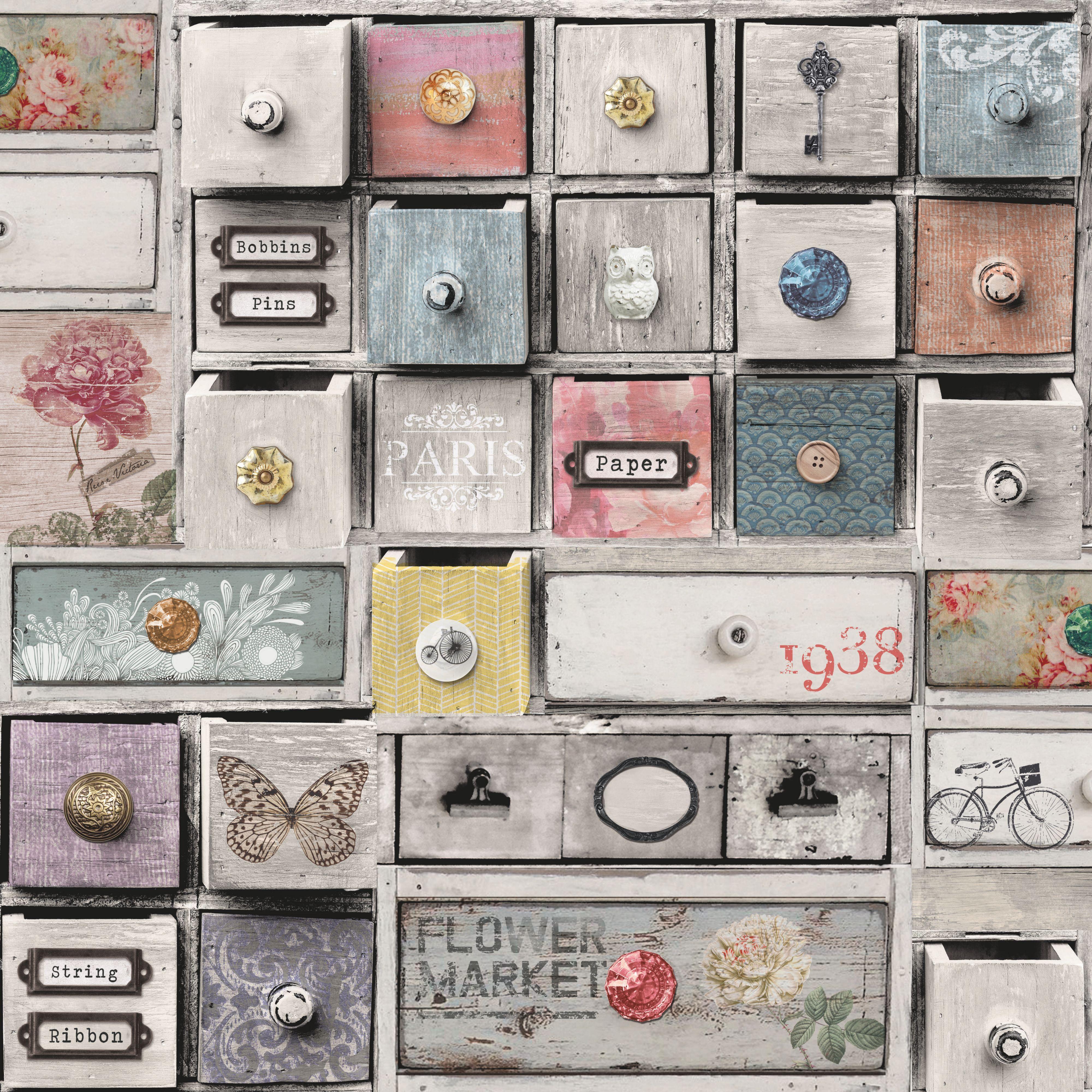 Apothecary Drawers Wallpaper | Departments | DIY at B&Q
