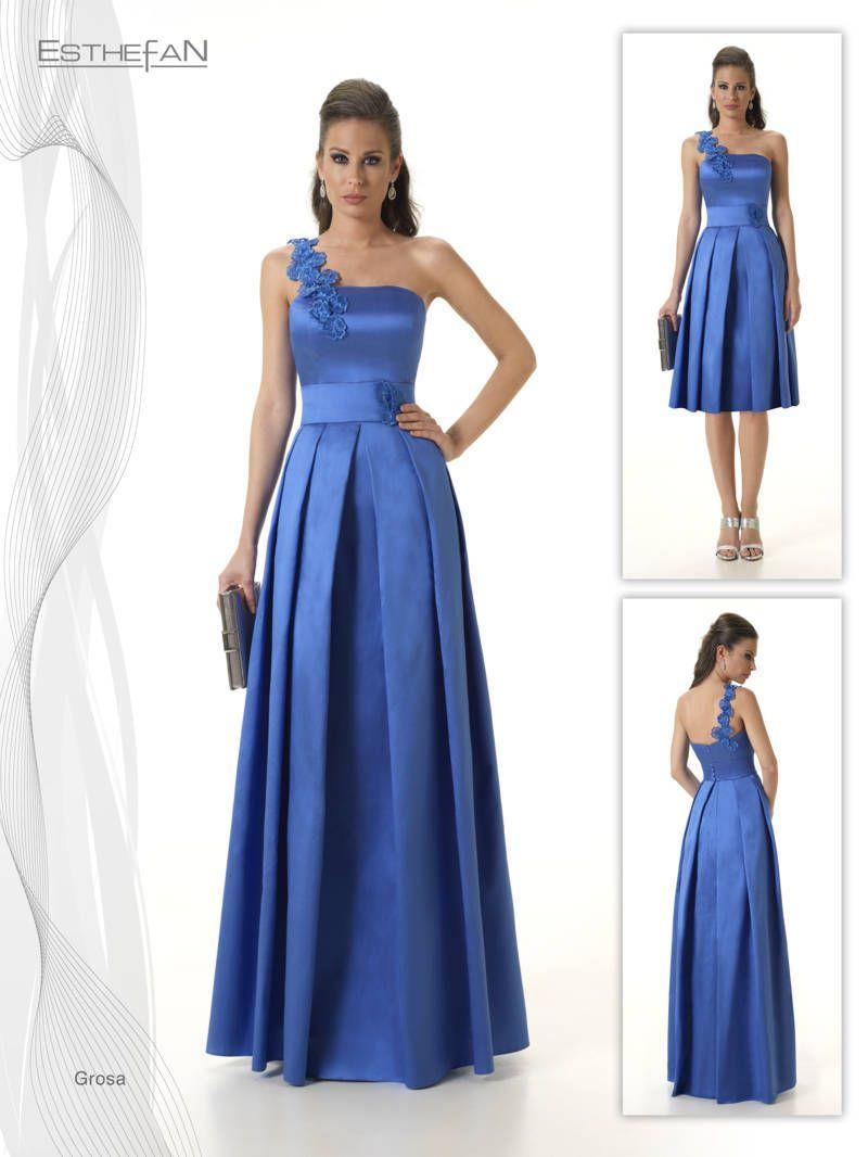 7cb91f573 La colección de vestidos de fiesta y madrina Esthefan 2017 es una de las  firmas más elegantes con una delicada combinación de tejidos y colores.