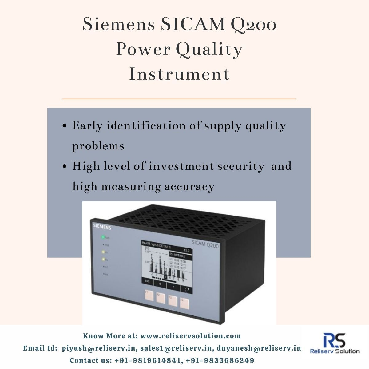 Siemens Sicam Q200 Power Quality Instrument Siemens Energy Management Power