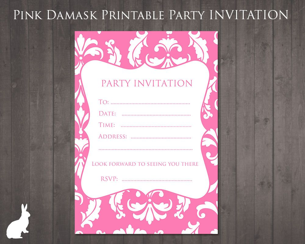 Free party invitation pink damask party ideas pinterest free free party invitations to print at home or at your local print shop stopboris Choice Image