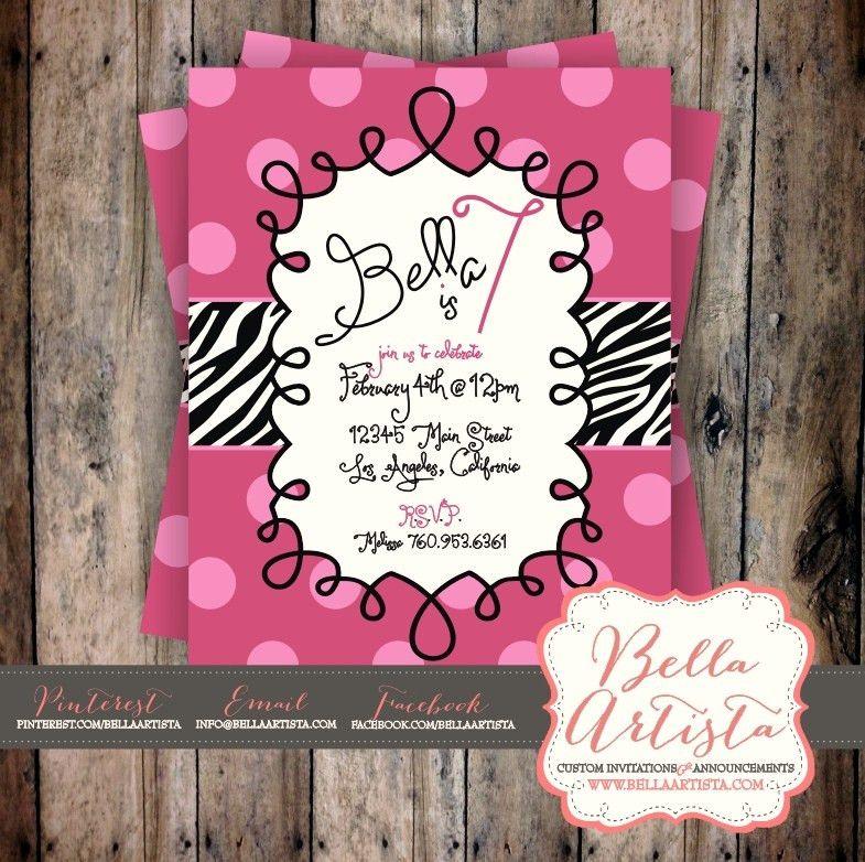 Hot Pink Polka Dots & Zebra Birthday Party Invitation - http://www ...