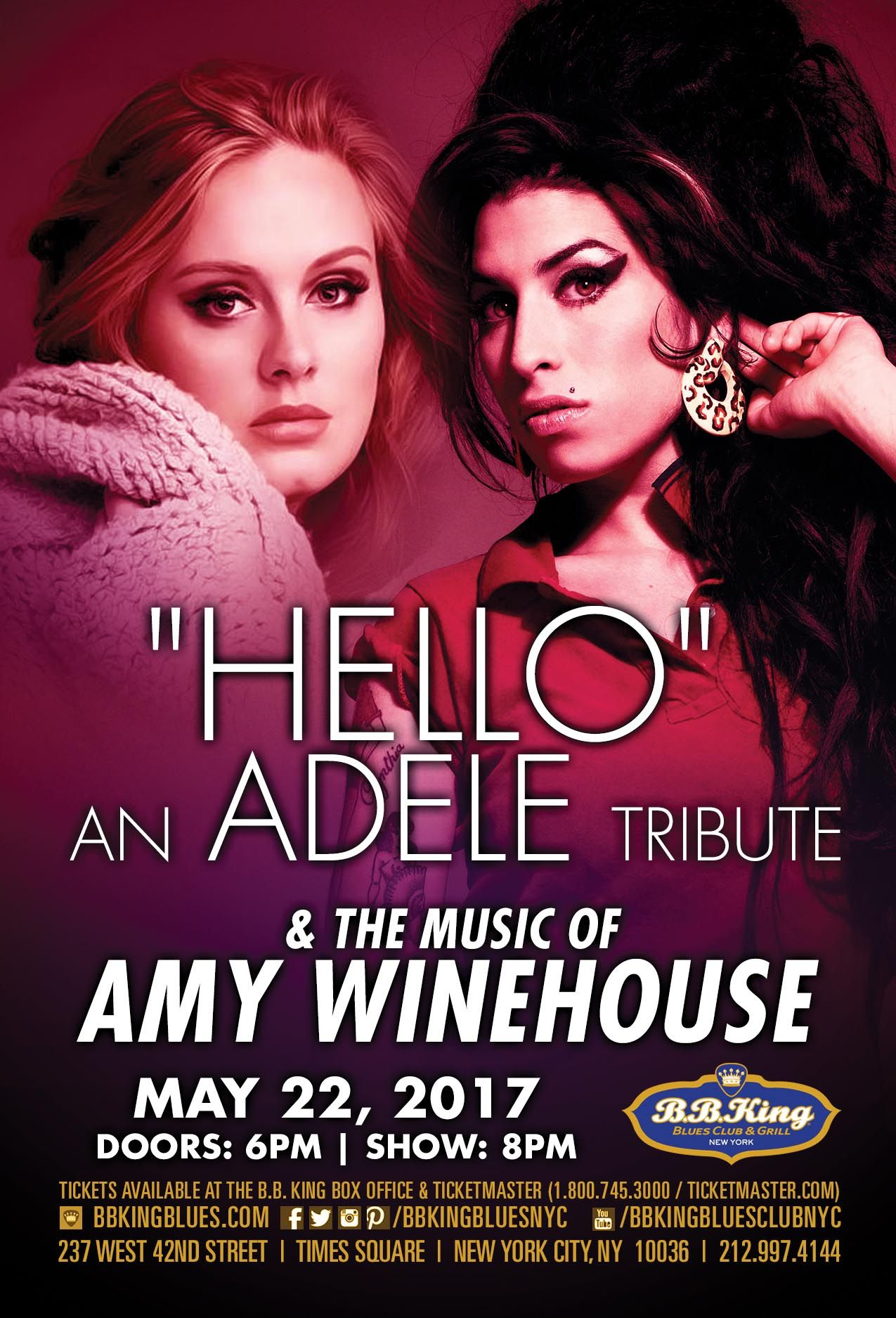 """""""Hello"""" The Adele Experience & The Music of Amy Winehouse (5.22.17)"""