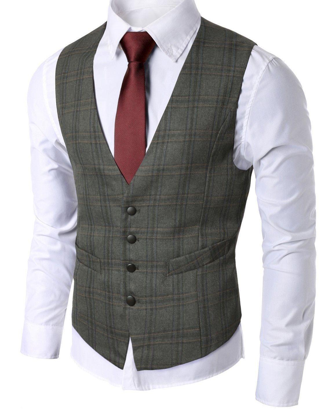 Classic Mens Check Waistcoat Vest | My Style | Pinterest | Grey ...