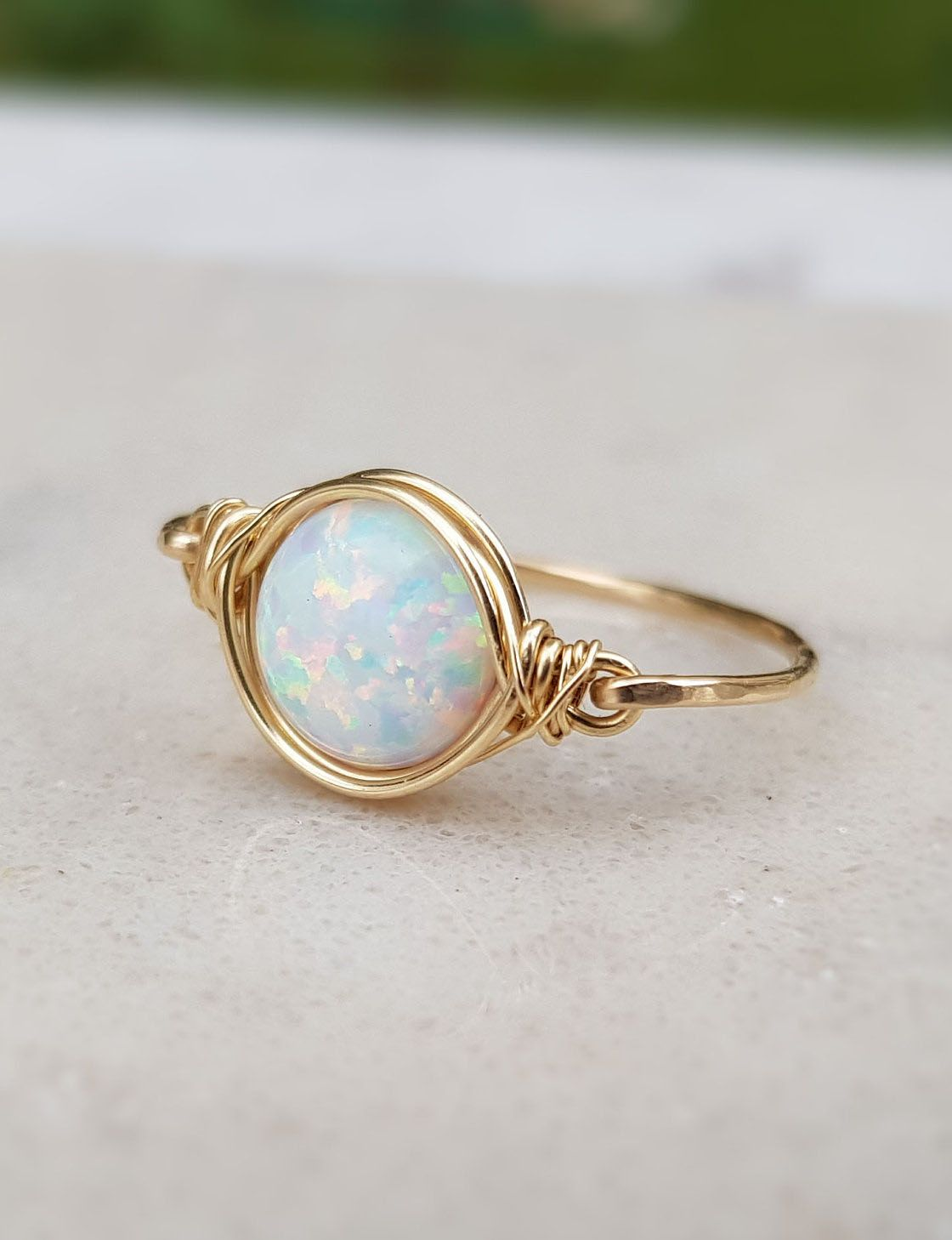 91044394747e1 Opal Ring,Gold Opal Ring,White Opal Ring,October Birthstone,Stacking ...
